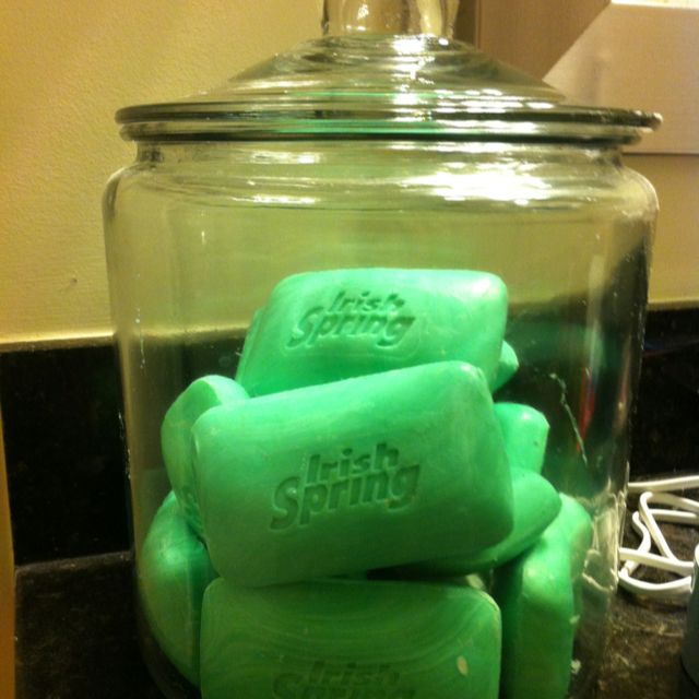 Men's bathroom! Soaps for decor and use! Great way to store and smells good too!