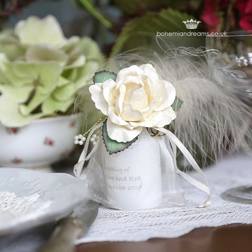 vintage love wedding favour candle www.bohemiandreams.co.uk