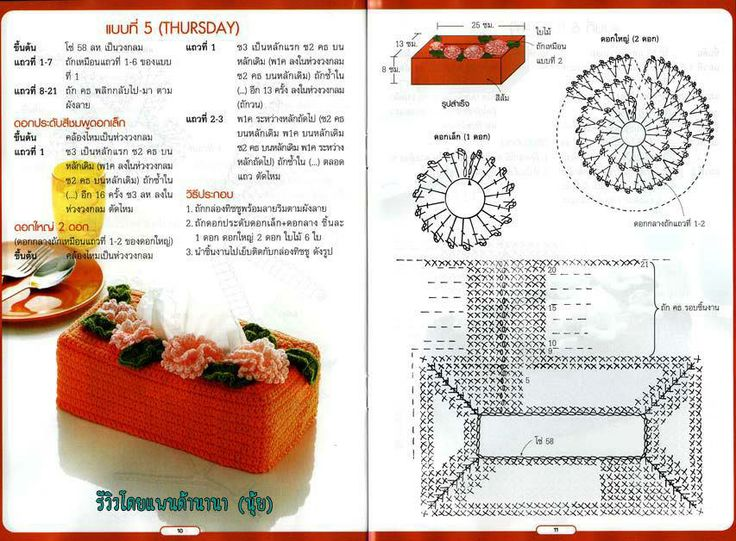SEVEN DAY- SEVEN COLOR crochet tissue box # 03 ♥LCM-MRS♥ with diagrams.