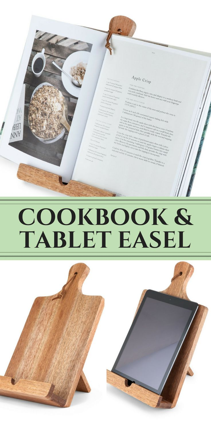 Rustic Farmhouse Cookbook & Tablet Stand - Only $29.74!! This gorgeous wood cooking easel holds a tablet, smartphone, cookbook or recipe card! Perfect for a farmhouse kitchen! - sponsored - farmhouse style, farmhouse kitchen, farmhouse kitchen decor - coo