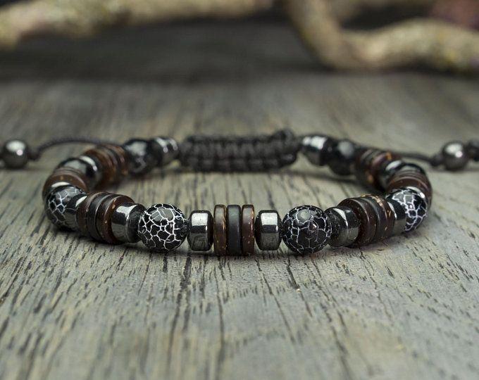 Perles en métal Exclusif 1000ola BRACELET Homme SHAMBALLA HEMATITE gris mat