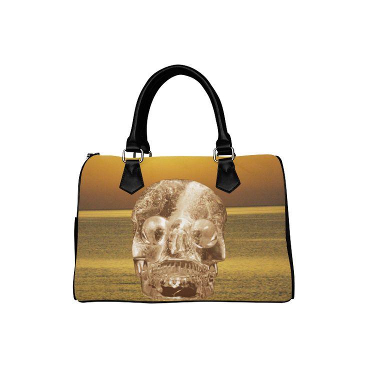 Crystal Skull Gold Boston Handbag (Model 1621)