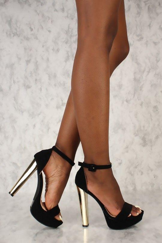 98e6fc7d08c9 Sexy Black Open Toe Platform Metallic High Heels Nubuck