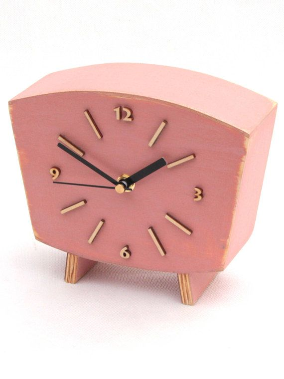 Pastel pink Clock Table, Wood Desk Clock, Distressed Mantel clock, Shabby chic, Powder Pink decor, Wedding gift, Back to school  Table clock handmade and handpainted with acrylic paints and distressed. Protected ecological varnish. This Wood Desk Clock made in Vintage style 60s. Will be unique gift ideas for wedding and birthday, Xmas gift for home decor or any ocasion. It can decor mantel just great wooden decor.  Made from solid wood and plywood. - Mounted quartz - Powered by battery AA…