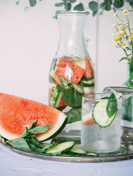 Flavored Water: Cucumber and Watermelon + Crushed Basil leaves