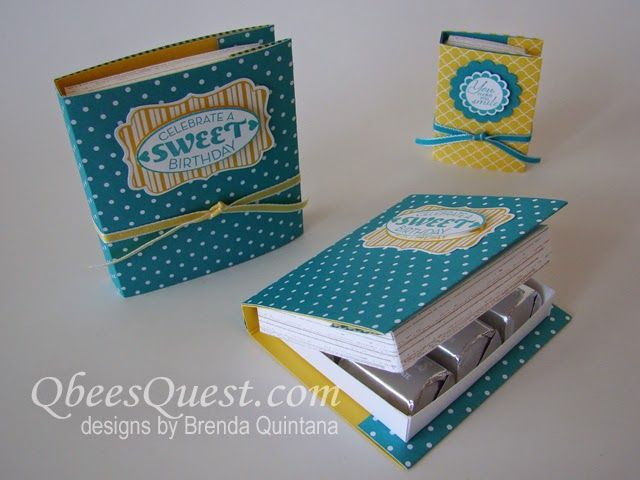 Hershey's Nuggets Book Tutorial | Gorgeous Grunge Stamp Set, Cycle Celebration Stamp Set, A Round Array Stamp Set, Simply Scored, Scoring, Books, Favors, Book Club Gifts, AR prizes, Stampin' Up, Qbee's Quest, Brenda Quintana