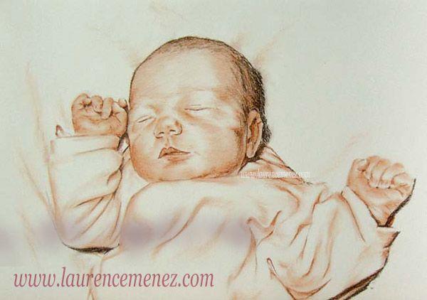 Portrait de bébé à la sanguine. Dessin réalisé d'après photo.