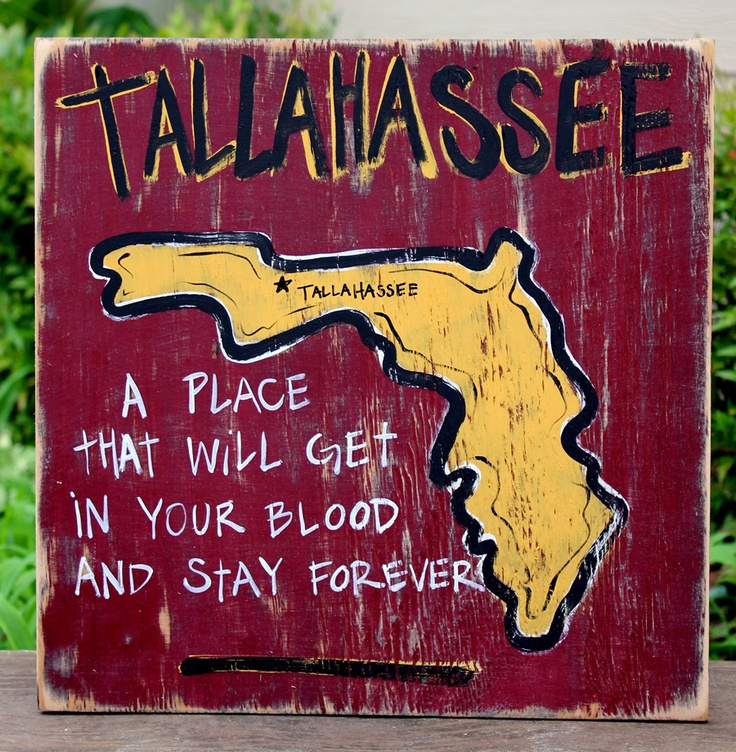 Tallahassee Hand Painted Sign from Simply Southern Signs and Bourbon & Boots: Florida States, Nole National, Hands Paintings Signs, Southern Signs, Wood Signs, Tallahass Hands, States Seminoles, Wooden Signs, Signs Hands