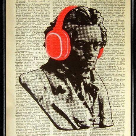 ベートーベンxヘッドフォン デザインポスター by PopcaPopca Studio