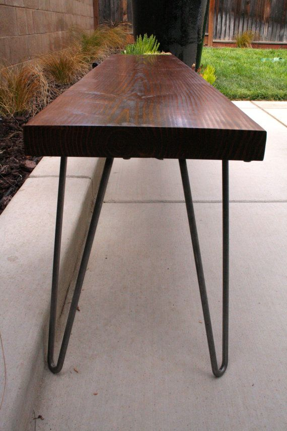 Organic Modern Rustic bench with Hairpin legs by MetalMeetsWood