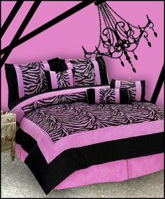 and black accents on Pinterest | Purple Zebra Bedroom, Pink Black ...