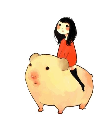 """""""watcha doin?""""  """"nothin, just riding a guinea pig"""""""