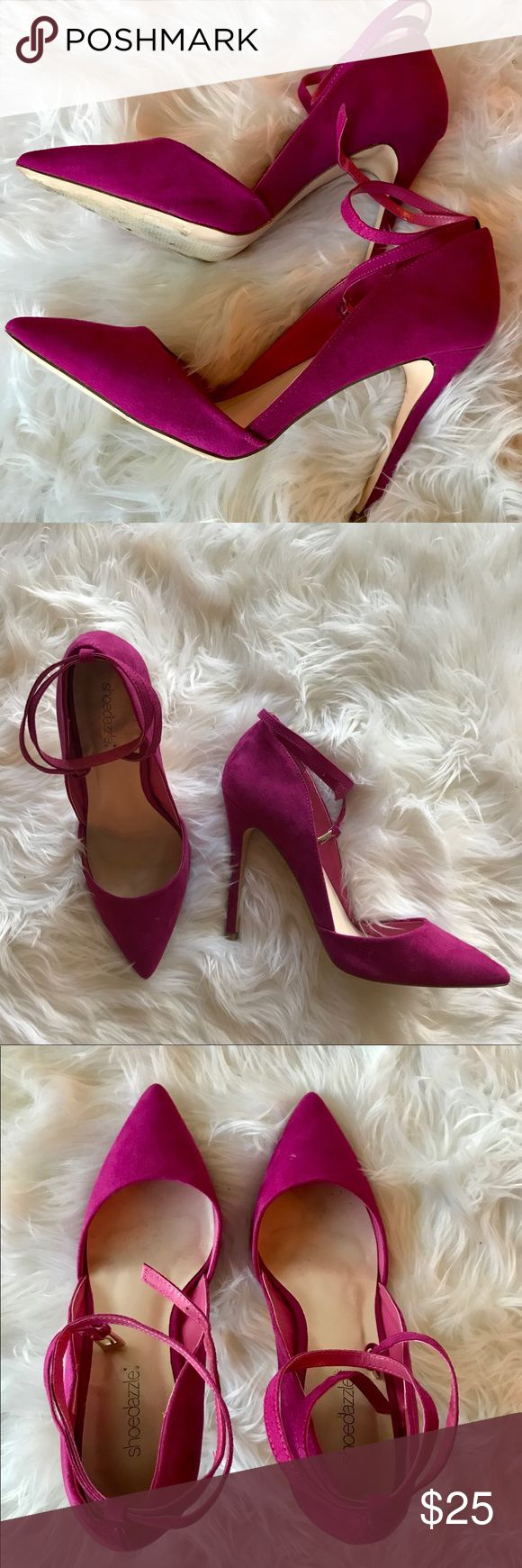 Shoe Dazzle Magenta Pumps Worn once! Comfortable, gorgeous pumps! Size US 10, UK 40. Removable wrap around strap. Fits true to size. Approx. 4 inch heel. Original box not included! Shoe Dazzle Shoes Heels
