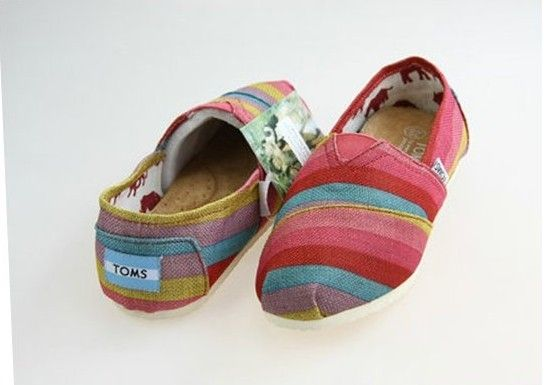 Toms Campus Girl Rainbow Plaid Comfortable