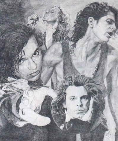Awesome collage drawing of Michael Hutchence. Love this!