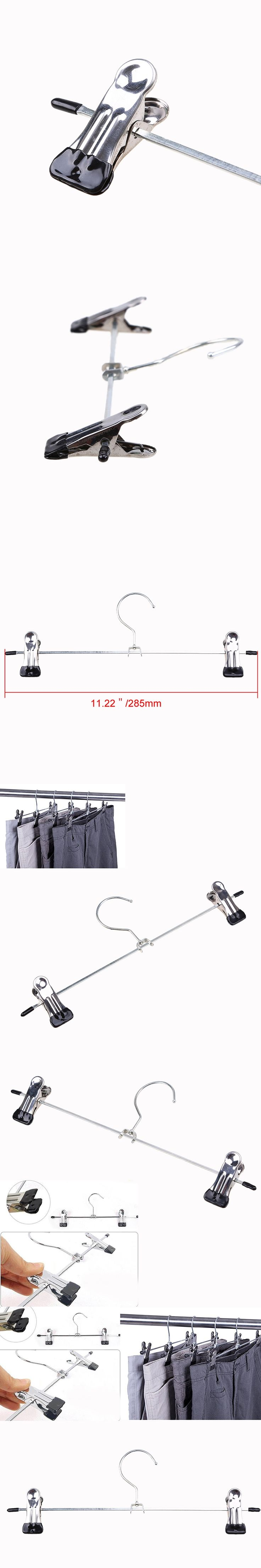 WHISM Adjustable Clamp Plastic Metal Trousers Rack Wardrobe Clothes Dress Bra Sock Hanger Clips Outdoor Airing Washing Supplies
