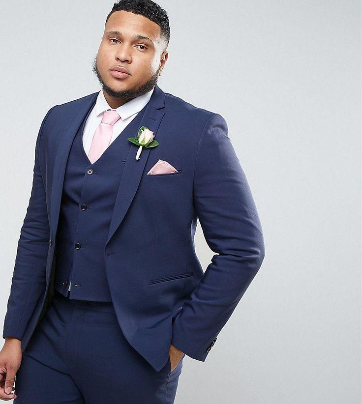 ASOS PLUS WEDDING Skinny Suit Jacket With Square Hem In Navy - Navy