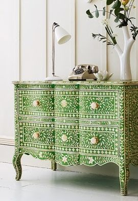 Gorgeous none inlay painted chest.....pop of green color- Indian Inlay Stencil from Cutting Edge Stencils