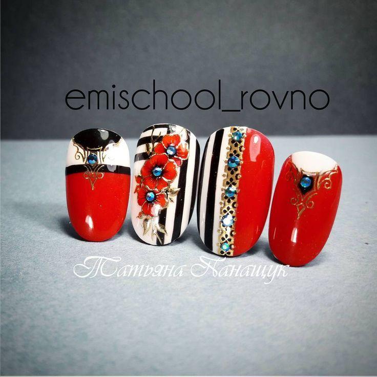 """Polubienia: 432, komentarze: 7 – E.Mi School Ровно, Украина (@emischool_rovno) na Instagramie: """"Дизайн для смелой и стильной Классическое сочетание чёрного, белого и красного))) #нейларт…"""""""
