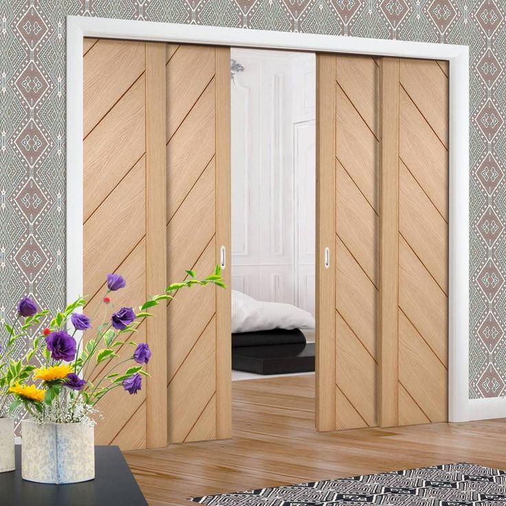 Quad Telescopic Pocket Monza Oak Veneer Door.  #monzadoors #contemporaydoors #oakdoors #flushdoor #pocketdoors #hiddendoors #telescopicdoors #eclisse #xljoinery