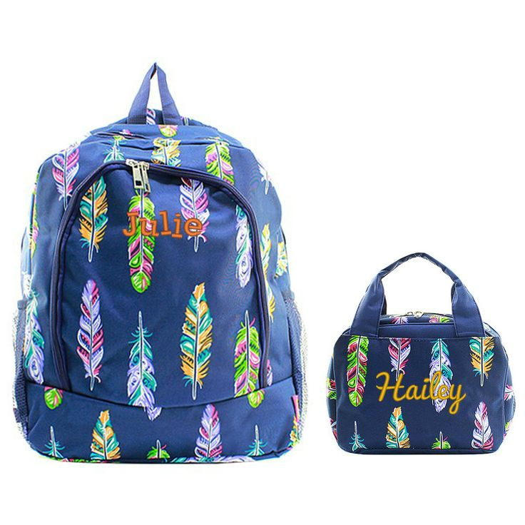 Matching Feather Navy Personalized Kids Backpack & Lunch Bag Set