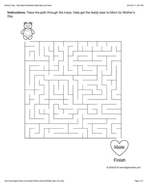 Mother's Day maze worksheet with a teddy bear and a heart. 4 levels of difficulty. Maze changes each time you visit