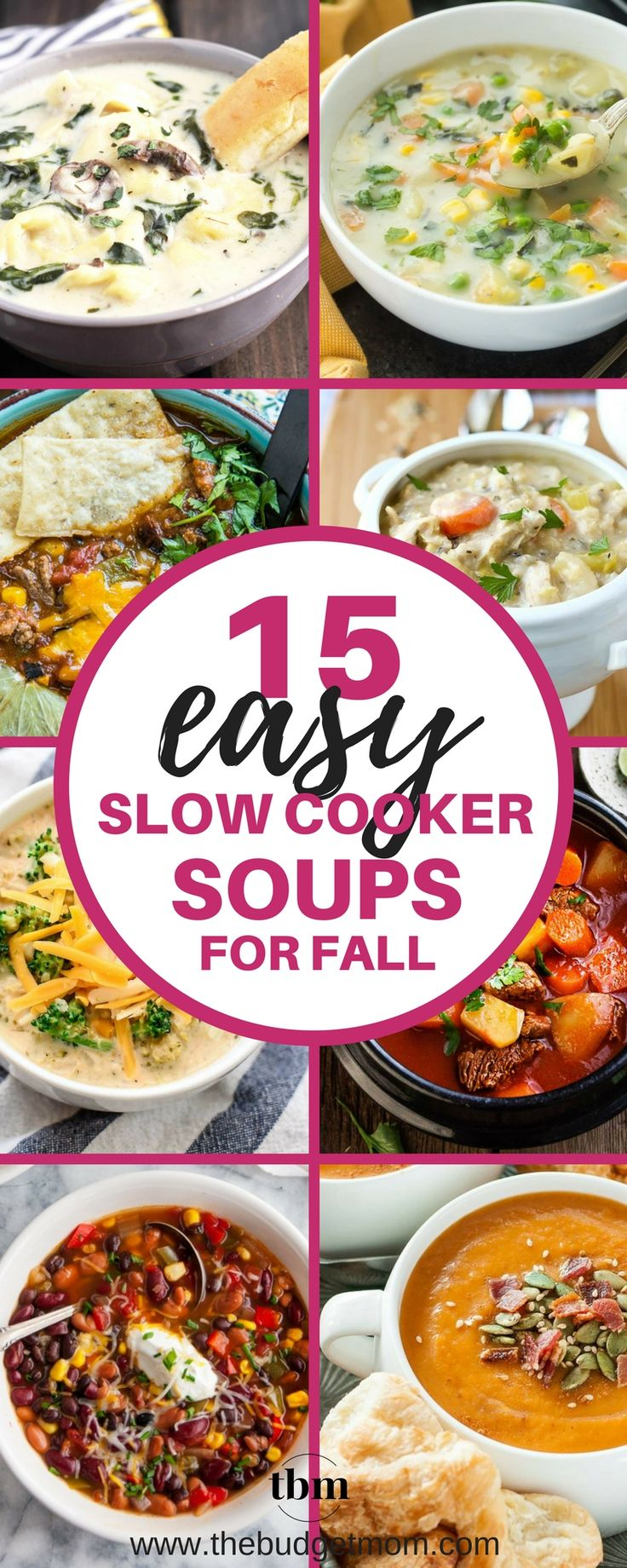 I love this list of EASY Fall soup recipes. It has EVERYTHING from chili, chowders, creamy soups and stews! I love how all of them can be cooked in my slow cooker and my whole family can enjoy them. Great List! via @thebudgetmom