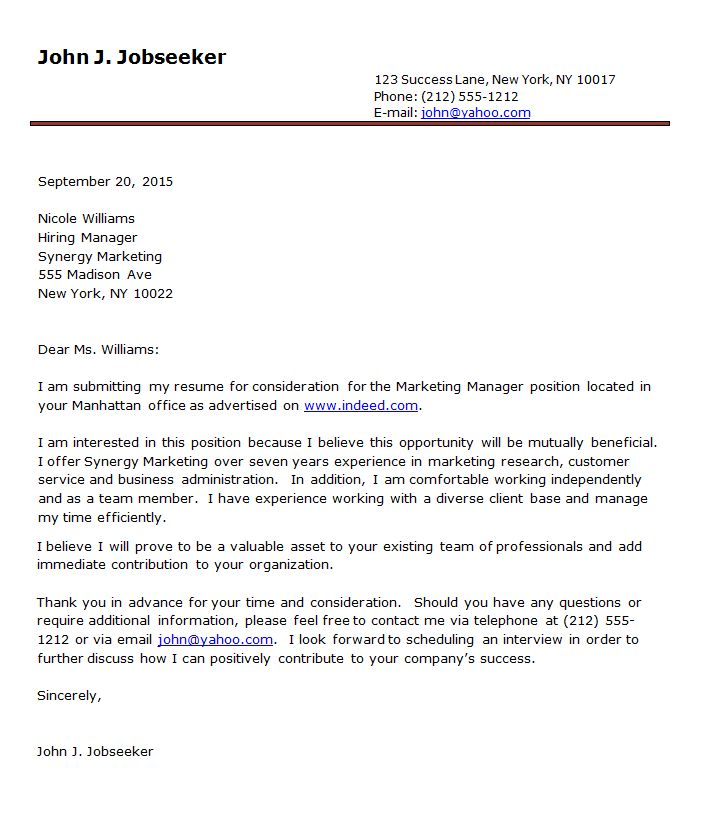 Resume Cover Letter Format Sample: Cover Letter Examples