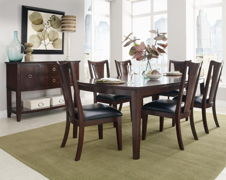 Standard Furniture Park Avenue II 7 Piece Dining Table Set With V Shaped  Splat Back