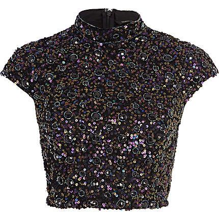 Navy sequin embellished crop top - crop tops / bralets / bandeau tops - tops - women