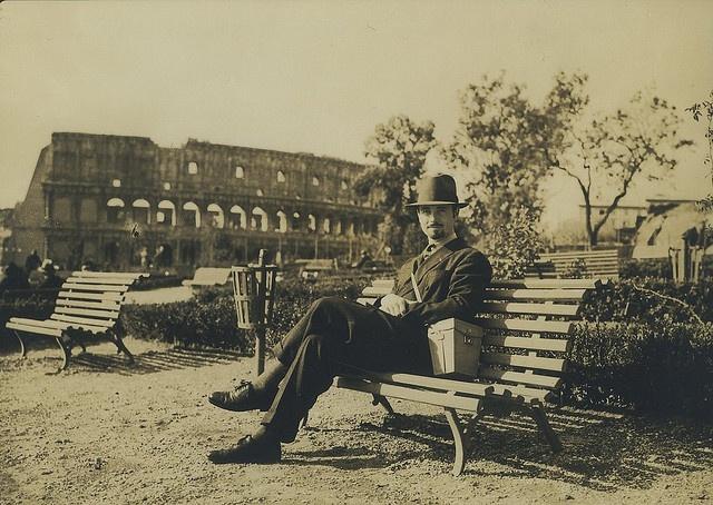 Andre de la Varre In Front of The Coliseum, Rome, 1927 by The Burton Holmes Archive, via Flickr