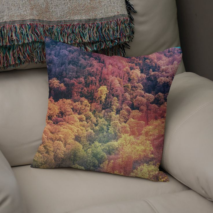 Autumn Leaves Throw Pillow, Smoky Mountains Tennessee