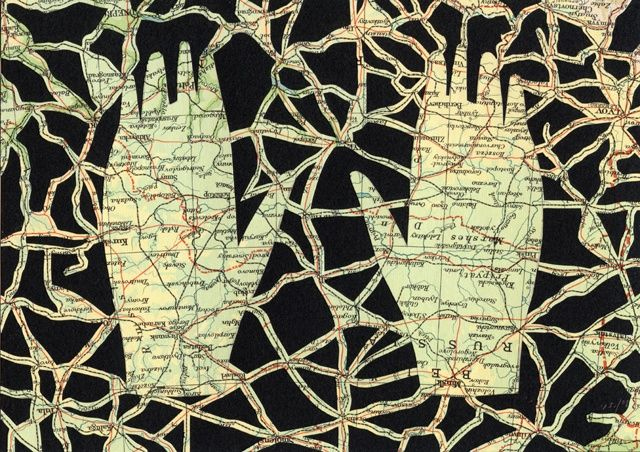 """Shannon Rankin, """"Symbiosis"""", 2008 Adapting map material as collage and as personal (shapes of hands, feet, etc.)"""