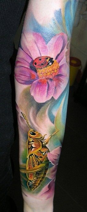 Flowers and Insects Tattoo Sleeve - Piotr Deadi Dedel http://tattoosflower.com/flowers-and-insects-tattoo-sleeve/ #flowertattoo