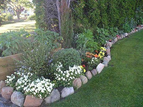 25 best ideas about rock flower beds on pinterest for Smooth river rocks for landscaping