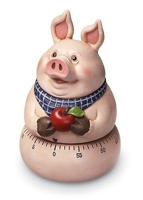 Cute Country Pig Kitchen Timer Holding An Apple New
