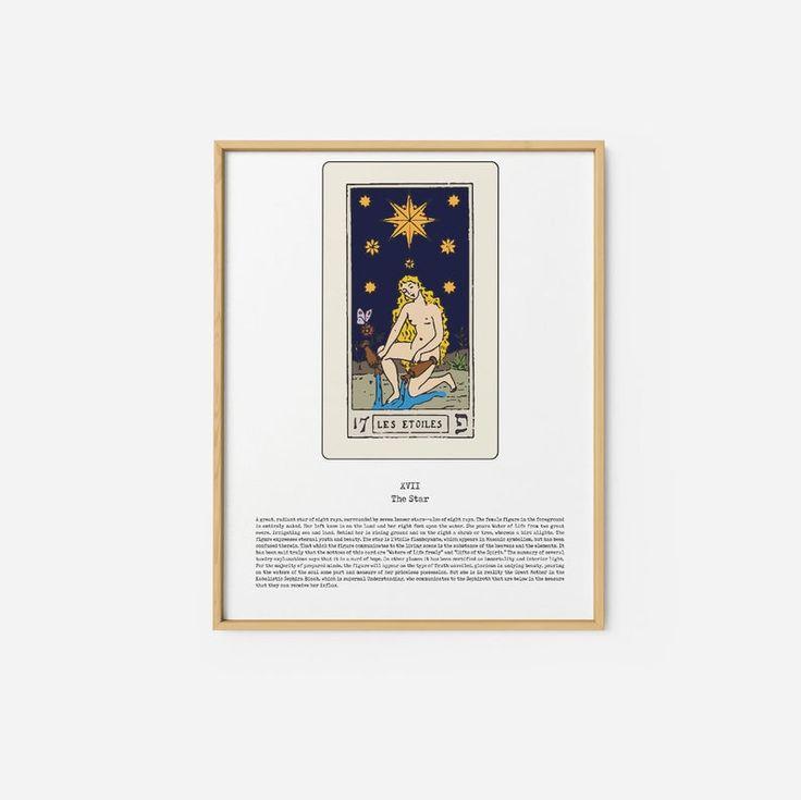 The star tarot printable tarot card poster wall art