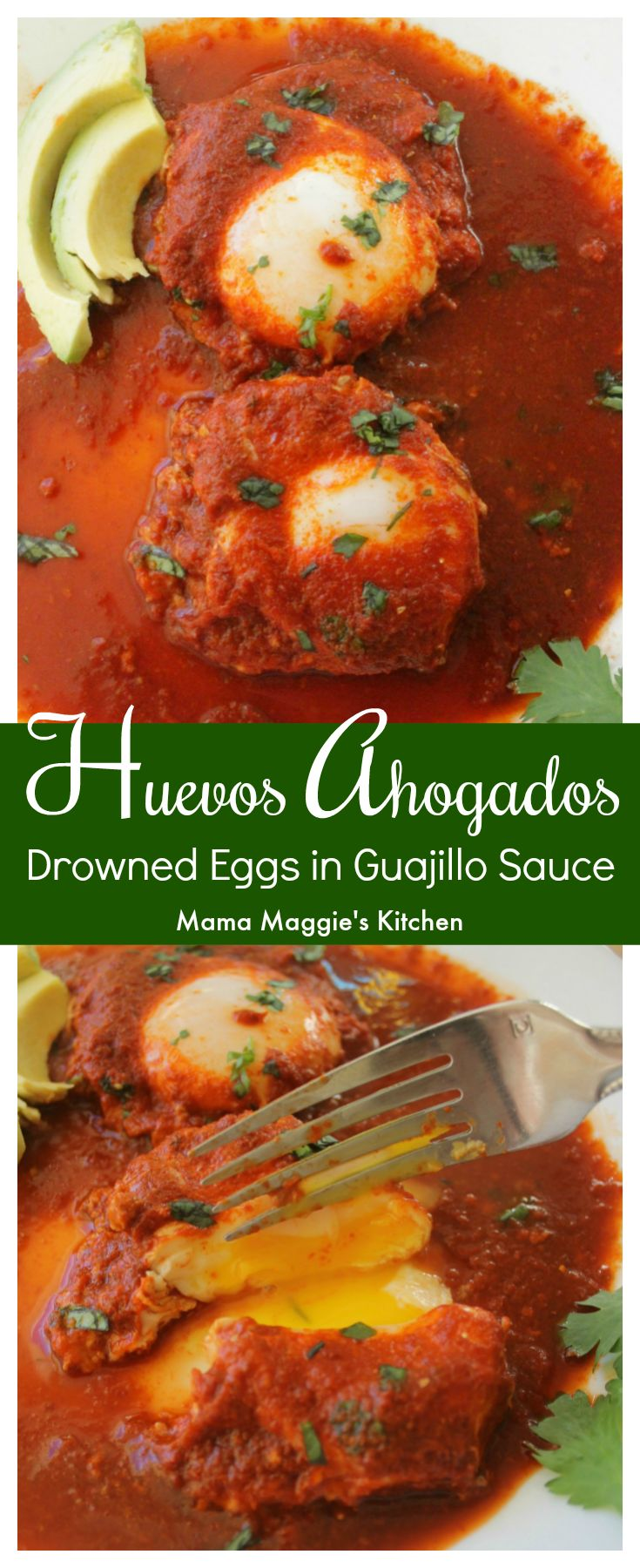 Huevos Ahogados (Drowned Eggs in Guajillo Sauce) is a classic Mexican recipe. Delicious and savory. Perfect for breakfast, lunch, or dinner. By Mama Maggie's Kitchen via @maggieunz #breakfast #brunch #eggs #huevos #huevosahogados #mexicanfood #mexicancuisine #MexicanRecipes #recipes