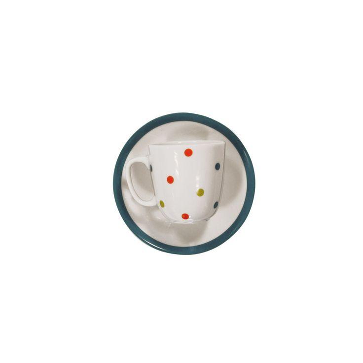 Juego de 6 tazas de cafe con plato porcelana espiral verde