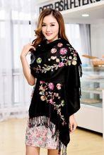 Siyah şal Sicak!! yeni yüksek kalite Eşarp Çin Lady Kaşmir Pashmina Işlemeli Şal/Eşarp/Atkılar Wrap ücretsiz kargo(China (Mainland))