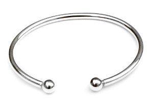 Ball End Cuff Bracelet in Sterling Silver Fire. $44.00