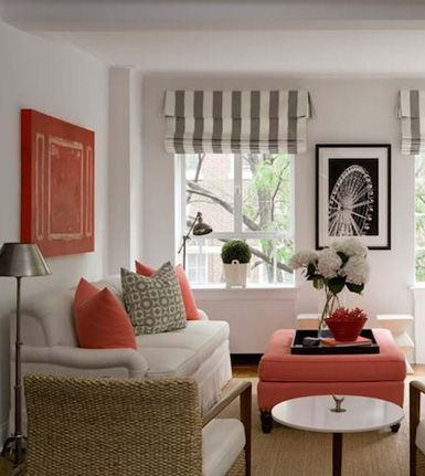 LV - coral and grey, beige, black and white - so fresh: Colors Combos, Decor Ideas, Living Rooms, Romans Shades, White, Colors Schemes, Grey, Design, Coral Accent