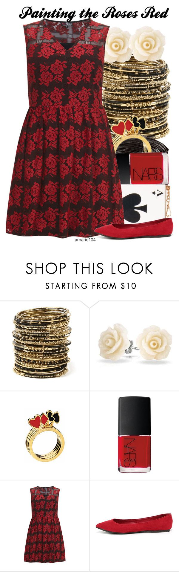 """""""Painting the Roses Red"""" by amarie104 ❤ liked on Polyvore featuring Amrita Singh, Bling Jewelry, Moschino, NARS Cosmetics, Dorothy Perkins and Breckelle's"""