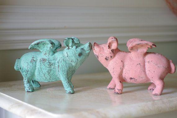 Home Decor Cast Iron Flying Pig  Mint Green by ByTheSeashoreDecor, $38.00