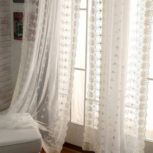 elegant white lace curtains romantic embroidered sheer curtains for living room beautiful bedroom curtains 1 panel