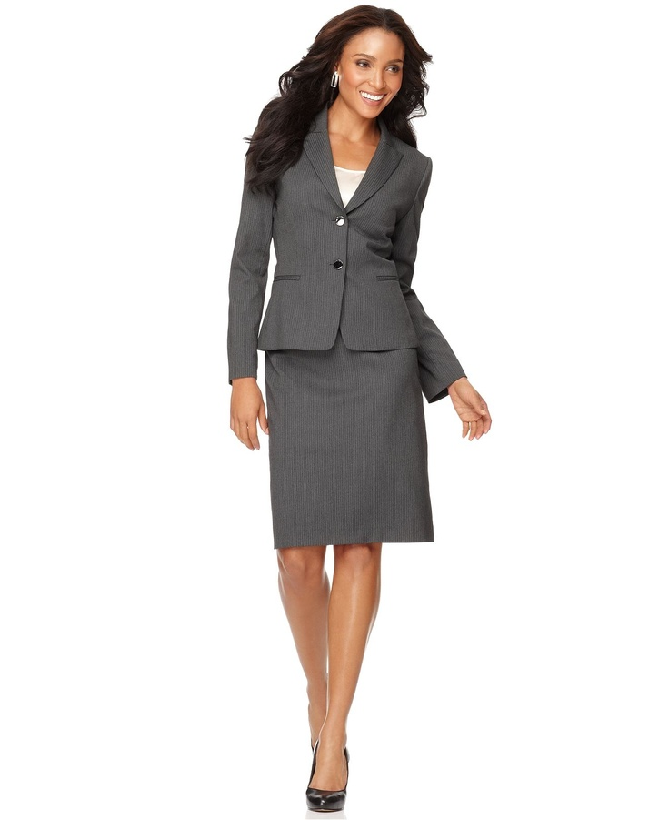 grey jacket and pencil skirt professional