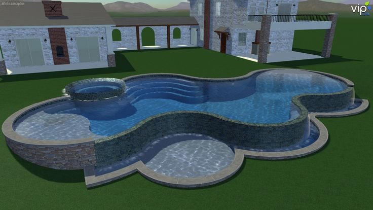1000 images about pools on pinterest large pavers pool for Pool design on a slope
