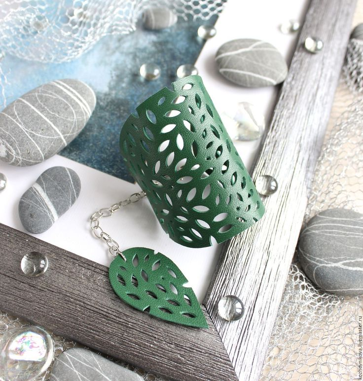 Купить Кожаный браслет Листья - Елена Кожевникова, зеленый, кожаный браслет, браслет кожаный