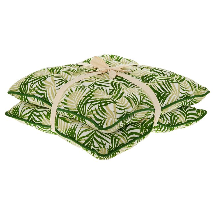 Two Pack White & Green Leaf Print Seat Pads 43x43cm - TK Maxx