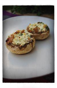 champis farcis - goat cheese hazelnut mushrooms